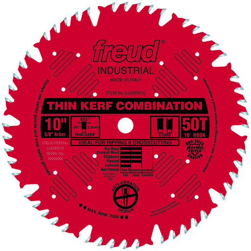 "View a Larger Image of LU83R010 Finish Red Circular Saw Blade 10"" x 5/8"" Bore x 50 Tooth Combination Thin Kerf"