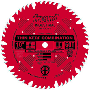 "LU83R010 Finish Red Circular Saw Blade 10"" x 5/8"" Bore x 50 Tooth Combination Thin Kerf"