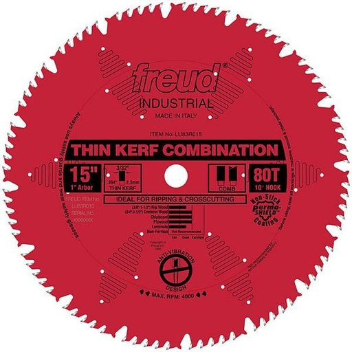 "View a Larger Image of LU83R015 Industrial Thin Kerf Combination Blade, with Red Perma-Shield, 15"" diameter, 1"" arbor"