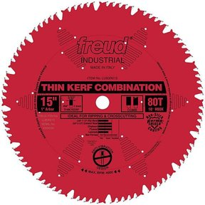 "LU83R015 Industrial Thin Kerf Combination Blade, with Red Perma-Shield, 15"" diameter, 1"" arbor"
