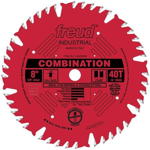 "View a Larger Image of LU84R008 Industrial Combination Blade with Red Perma-Shield, 8"" diameter, 5/8"" arbor, 40 teeth"