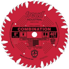 "LU84R008 Industrial Combination Blade with Red Perma-Shield, 8"" diameter, 5/8"" arbor, 40 teeth"