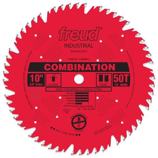 "View a Larger Image of LU84R011 Perma-Shield Circular Saw Blade 10"" x 5/8"" Bore x 50 Tooth Combination"