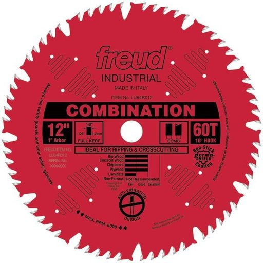 "View a Larger Image of LU84R012 Red Perma-Shield Circular Saw Blade 12"" x 1"" Bore x 60 Tooth Hi-Combination"