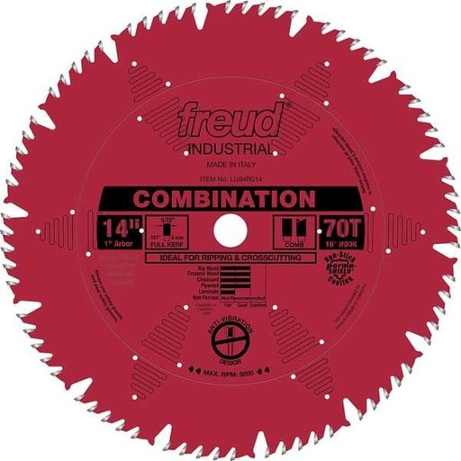 "View a Larger Image of LU84R014 Industrial Combination Blade with Red Perma-Shield, 14"" diameter, 1"" arbor, 70 teeth"