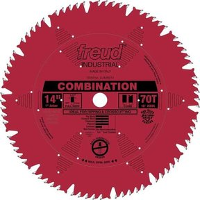 "LU84R014 Industrial Combination Blade with Red Perma-Shield, 14"" diameter, 1"" arbor, 70 teeth"