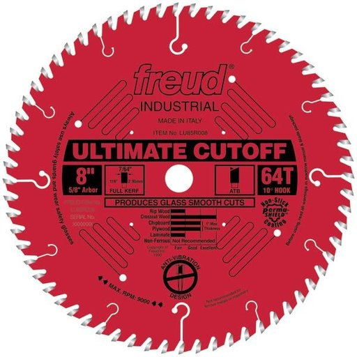 "View a Larger Image of LU85R008 Industrial Ultimate Cut-Off Bladed with Red Perma-Shield 8"" x 5/8"" Bore x 64 Tooth ATB"