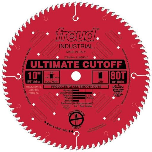 "View a Larger Image of LU85R010 Industrial Ultimate Cut-off Blade 10"" x 5/8"" Bore x 80 Tooth ATB"