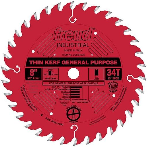 "View a Larger Image of LU86R008 Industrial Thin Kerf General Purpose Blade with Red Perma-Shield, 8"" diameter, 5/8"" a"