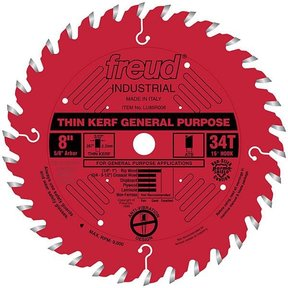 "LU86R008 Industrial Thin Kerf General Purpose Blade with Red Perma-Shield, 8"" diameter, 5/8"" a"