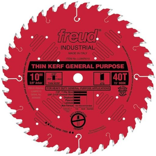 """View a Larger Image of LU86R010 Red Circular Saw Blade 10"""" x 5/8"""" Bore x 40 Tooth ATB Thin Kerf"""