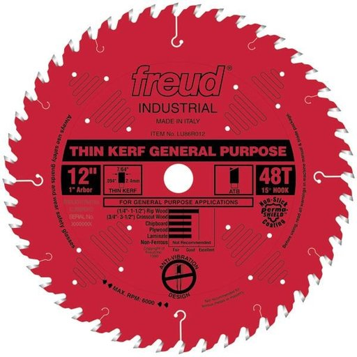 """View a Larger Image of LU86R012 Circular Saw Blade 12"""" x 1"""" Bore x 48 Tooth ATB Thin Kerf"""