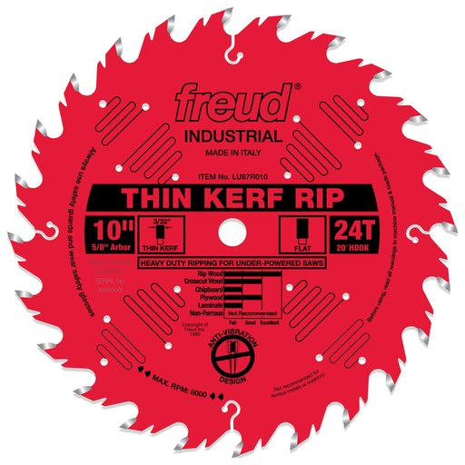"View a Larger Image of LU87R010 Circular Saw Blade 10"" x 5/8"" Bore x 24 Tooth Flat Top Thin Kerf"