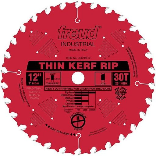 "View a Larger Image of LU87R012 Industrial Thin Kerf Ripping Blade with Red Perma-Shield, 12"" diameter, 1"" arbor, 30"