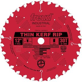 "LU87R012 Industrial Thin Kerf Ripping Blade with Red Perma-Shield, 12"" diameter, 1"" arbor, 30"