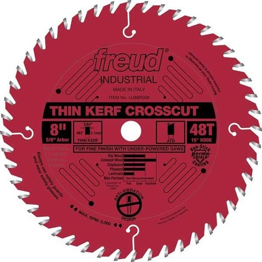 "View a Larger Image of LU88R008 Industrial Thin Kerf Fine Finishing Crosscut Blade with Red Perma-Shield, 8"" diameter"