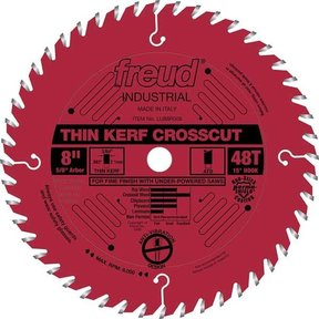 "LU88R008 Industrial Thin Kerf Fine Finishing Crosscut Blade with Red Perma-Shield, 8"" diameter"