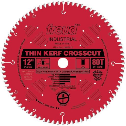 "View a Larger Image of LU88R012 Thin Kerf Fine Finishing Blade 12"" x 1"" Bore x 80 Tooth ATB Thin Kerf"