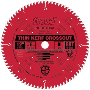 "LU88R012 Thin Kerf Fine Finishing Blade 12"" x 1"" Bore x 80 Tooth ATB Thin Kerf"