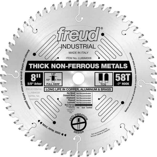 "View a Larger Image of LU89M008 Industrial Thick Non-Ferrous Metal Blade, 8"" diameter, 1/4"" max thick, 5/8"" arbor, 58"