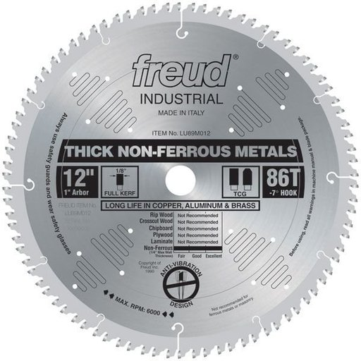 "View a Larger Image of LU89M012 Circular Saw Aluminium Saw Blade 12"" x 1"" Bore x 86 Tooth TCG"