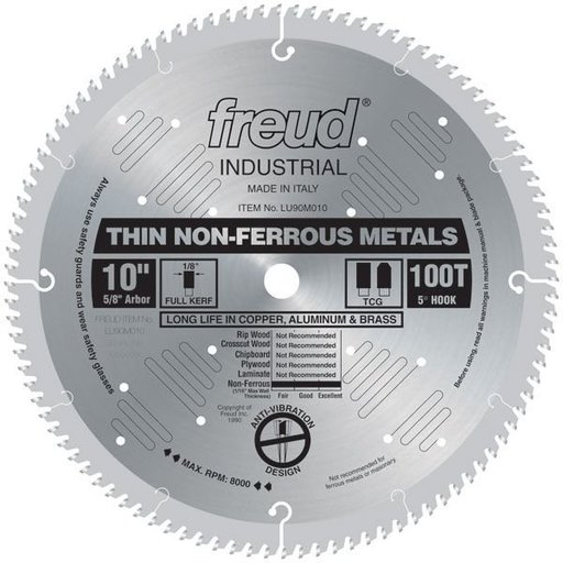 "View a Larger Image of LU90M010 Circular Saw Aluminium Saw Blade 10"" x 5/8"" Bore x 100 Tooth TCG"