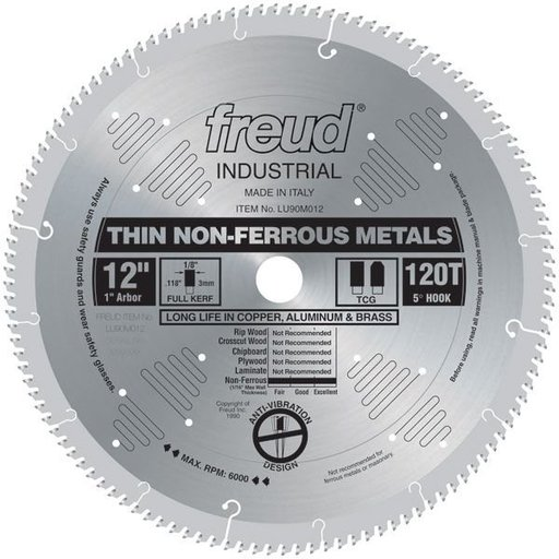 "View a Larger Image of LU90M012 Circular Saw Aluminium Saw Blade 12"" x 1"" Bore x 120 Tooth TCG"
