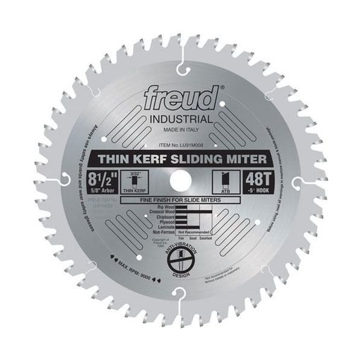 "View a Larger Image of LU91M008 Industrial Thin Kerf Sliding Miter Blade, 8-1/2"" diameter, 5/8"" arbor, 48 teeth ATB"