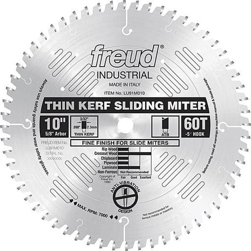 """View a Larger Image of LU91M010 Sliding Compound Miter Saw Blade 10"""" X 5/8"""" Bore X 60 Tooth Thin Kerf"""