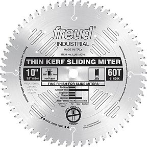"LU91M010 Sliding Compound Miter Saw Blade 10"" X 5/8"" Bore X 60 Tooth Thin Kerf"