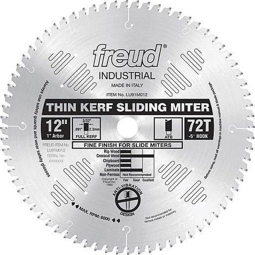 """View a Larger Image of LU91M012 Sliding Compound Miter Saw Blade 12"""" X 1"""" Bore 72 Tooth Thin Kerf"""
