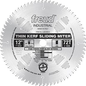 "LU91M012 Sliding Compound Miter Saw Blade 12"" X 1"" Bore 72 Tooth Thin Kerf"
