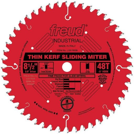 """View a Larger Image of LU91R008 Sliding Compound Miter Saw Blade 8-1/2"""" x 5/8"""" Bore x 48 Tooth ATB"""
