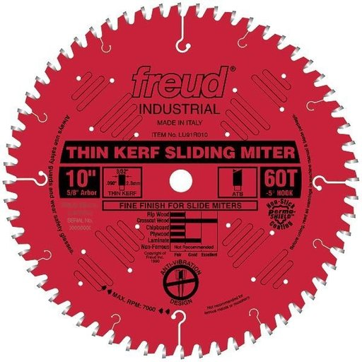"""View a Larger Image of LU91R010 Sliding Compound Miter Saw Blade 10"""" x 5/8"""" Bore x 60 Tooth ATB"""