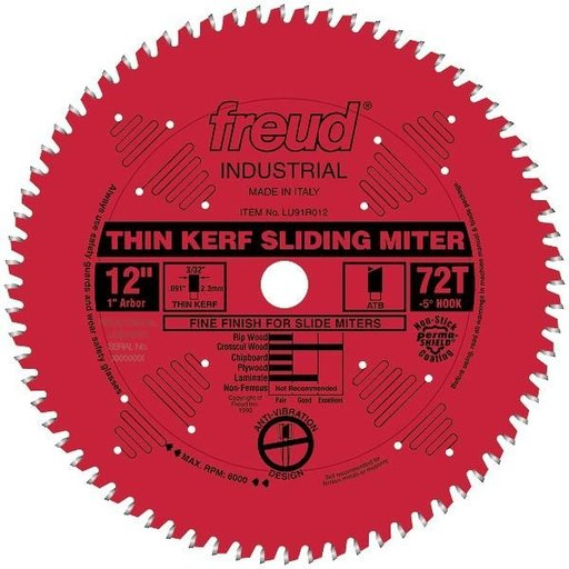 "View a Larger Image of LU91R012 Sliding Compound Miter Saw Blade 12"" x 1"" Bore x 72 Tooth ATB"