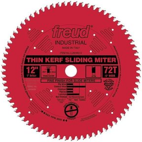 "LU91R012 Sliding Compound Miter Saw Blade 12"" x 1"" Bore x 72 Tooth ATB"