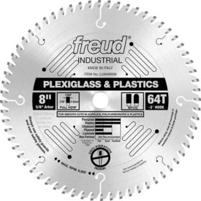 "LU94M008 Industrial Plastic Blade for Plexiglass/Acrylics, 8"" diameter, 5/8"" arbor, 64 teeth T"