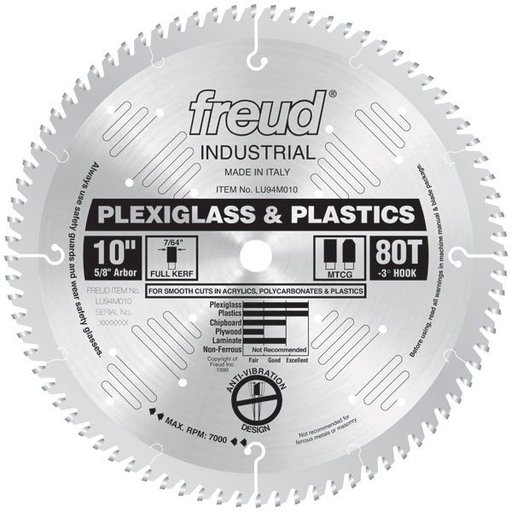 "View a Larger Image of LU94M010 Circular Saw Plastic Saw Blade 10"" x 5/8"" Bore x 80 Tooth TCG"