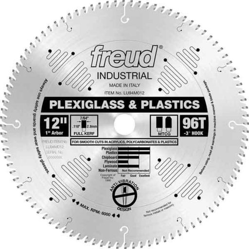 "View a Larger Image of LU94M012 Industrial Plastic Blade for Plexiglass/Acrylics, 12"" diamter, 1"" arbor, 96 teeth TCG"