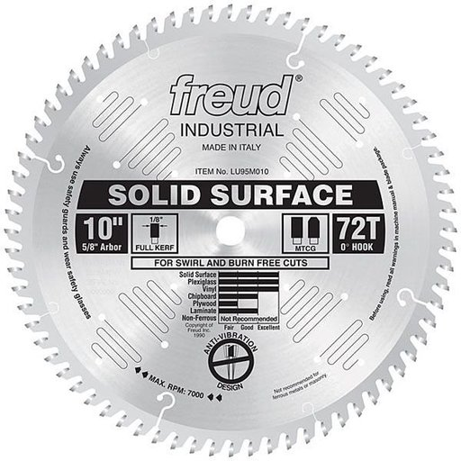 "View a Larger Image of LU95M010 Industrial Solid Surface Blade, 10"" diameter, 5/8"" arbor, 72 teeth TCG"