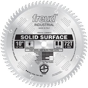 "LU95M010 Industrial Solid Surface Blade, 10"" diameter, 5/8"" arbor, 72 teeth TCG"