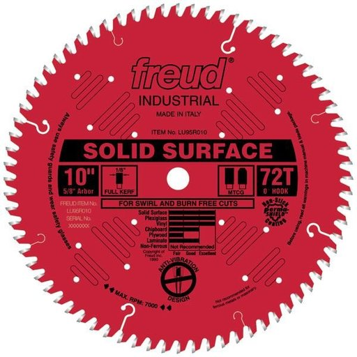 "View a Larger Image of LU95R010 Circular Saw Solid Surface Saw Blade 10"" x 5/8"" Bore x 72 Tooth TCG"