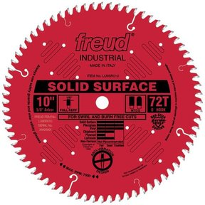 "LU95R010 Circular Saw Solid Surface Saw Blade 10"" x 5/8"" Bore x 72 Tooth TCG"
