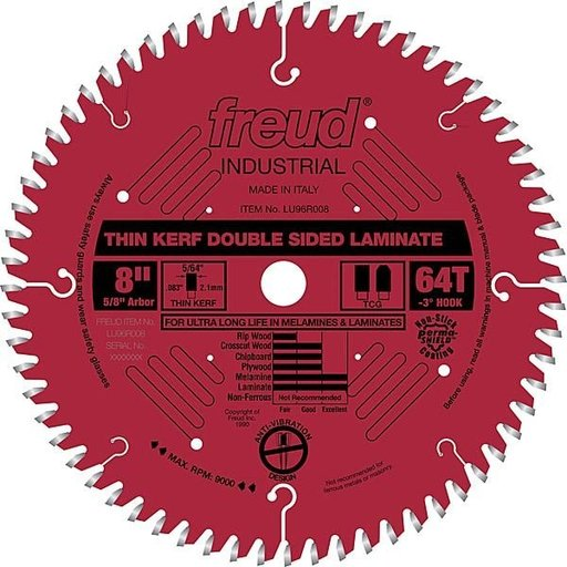 "View a Larger Image of LU96R008 Double sided Laminate / Melamine Saw Blade 8"" X 5/8"" Bore X 64Tooth Thin Kerf"