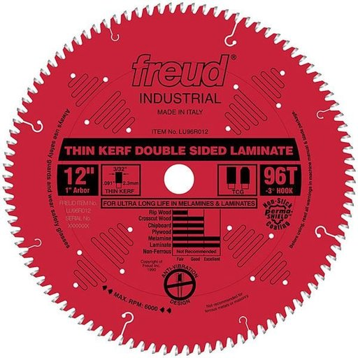"View a Larger Image of LU96R012 Laminate Circular Saw Blade 12"" x 1"" Bore x 96 Tooth Top Center Grind"