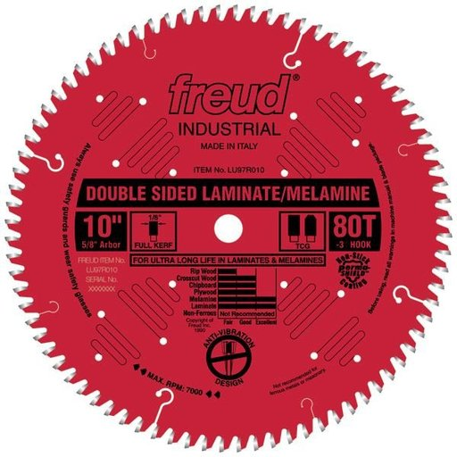 "View a Larger Image of LU97R9010 Double Sided Laminated/Melamine Circular Saw Blade 10"" X 5/8"" Bore X 80 Tooth TCG"