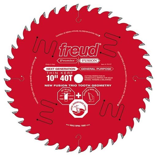 "View a Larger Image of P410T Fusion Circular Saw Blade 10"" x 5/8"" Bore x 40 Tooth Thin Kerf"