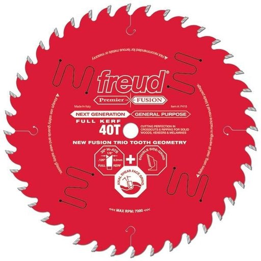 "View a Larger Image of P412 Premier Fusion Crosscut & Rip Blade, 12"" diameter, 1"" arbor, 48 teeth, 30 degree Hi-ATB"