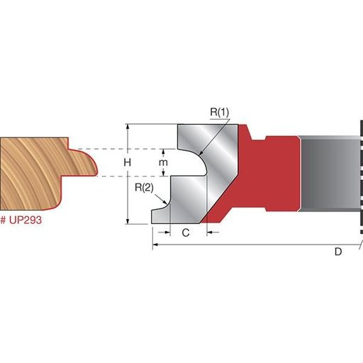 "View a Larger Image of UP293 Door Lip Shaper Cutter, 4-21/64"" OD, 3/8"" CD, 1-1/32"" CL, 1-1/4"" bore"