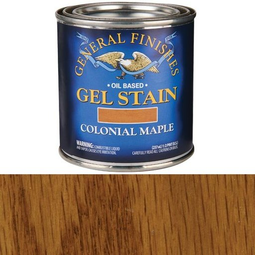 General Finishes Gel Stain Pint Or Furniture Oil Topcoat: Colonial Maple Gel Stain 1/2 Pint